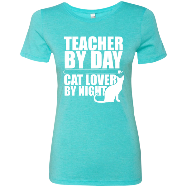 Teacher by Day Cat Lover by Night Next  Level Ladies Triblend T-Shirt - TeachersLoungeShop - 2