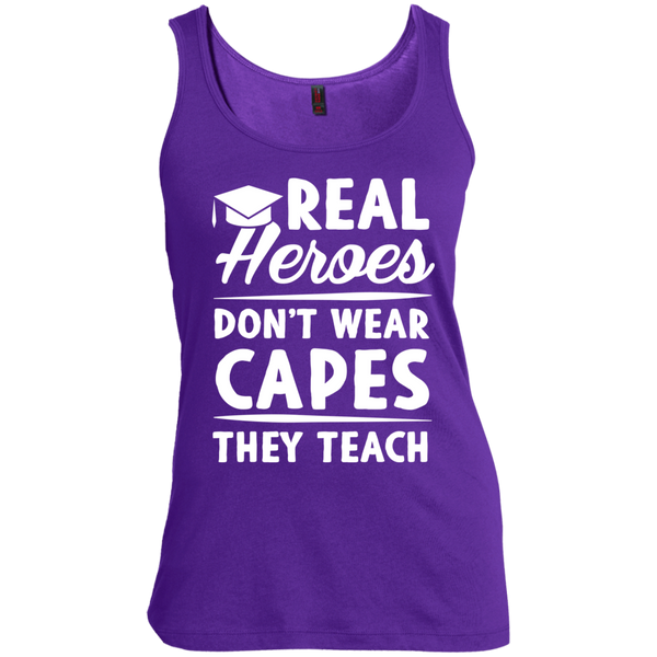 Real Heroes Dont wear capes They Teach  Women's  Scoop Neck Tank Top - TeachersLoungeShop - 6