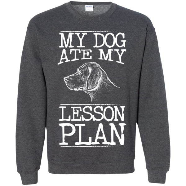 My Dog Ate my Lesson Plan Crewneck Pullover Sweatshirt  8 oz - TeachersLoungeShop - 8
