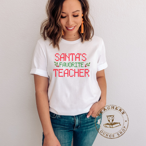Santa's favorite Teacher 5.3 oz. T-Shirt