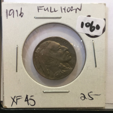 Full horn 1916 buffalo nickel EF++ Extra Fine