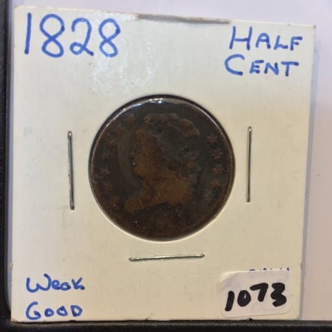 Classic Head Half Cent 1828 Very Good VG Details - vintage coins - Half Cents