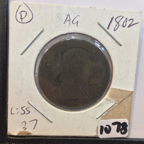 Draped Bust Large Cent 1802 AG About Good - large cents - vintage coins