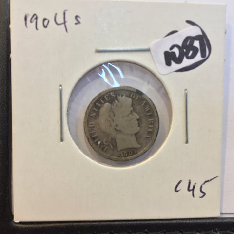 Barber Dime 1904 S G + San Francisco good plus