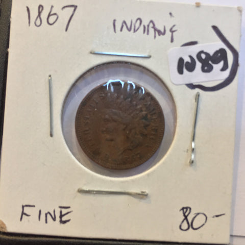 Indian Head Cent 1867 F Fine plus