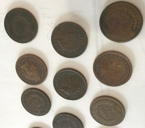 6 Different older Indian Head Cents Dated Before 1895