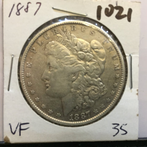 * MORGAN SILVER DOLLAR - 1887 VF+