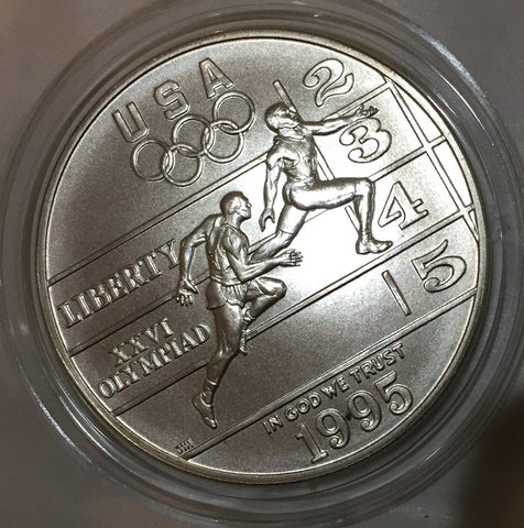 Atlantic Olympic Runners Commemorative Silver Dollar 1995 D GEM UNCIRC uncirculated Denver