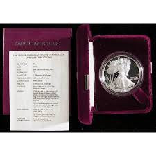 107T 1987 US Proof 1 ounce Silver Eagle In Original Mint Velour Box