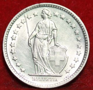 .835Silver 1943-B Switzerland Franc Standing Helvetia Lance Almost Uncirculated