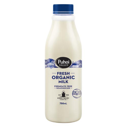 Puhoi Organic Homogenised Milk 750ml