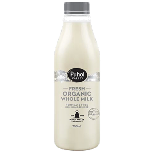 Puhoi Organic Non-Homogenised Milk 750ml
