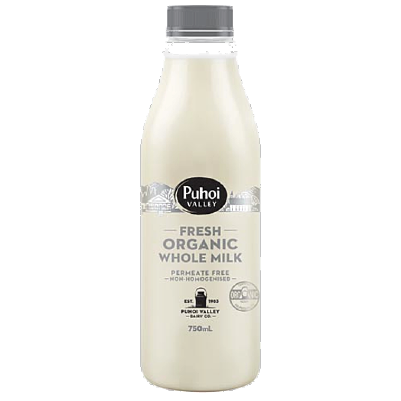 Puhoi Organic Milk 750ml Un-Homogenised