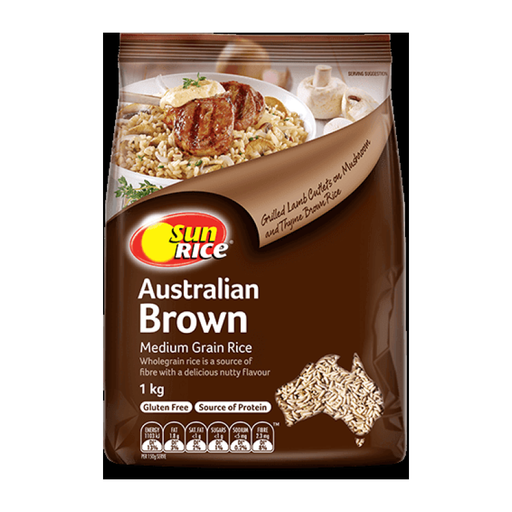 Rice Brown Medium Grain Sun Rice 1Kg