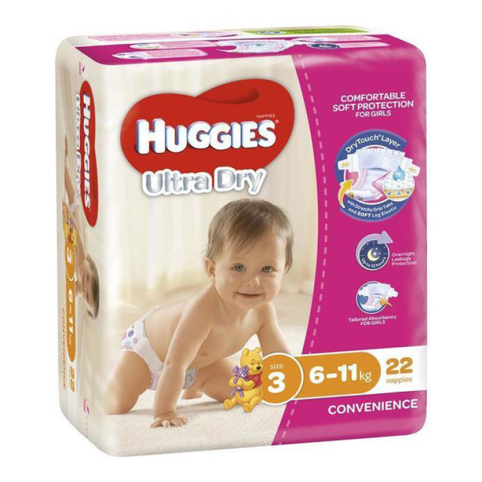 Nappies SIZE 3 Girls Huggies