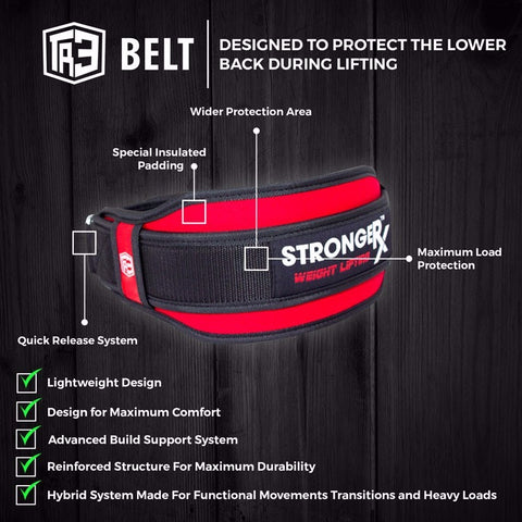 StrongerRX TR3 Weight Lifting Belt - Red - StrongerRX - 5