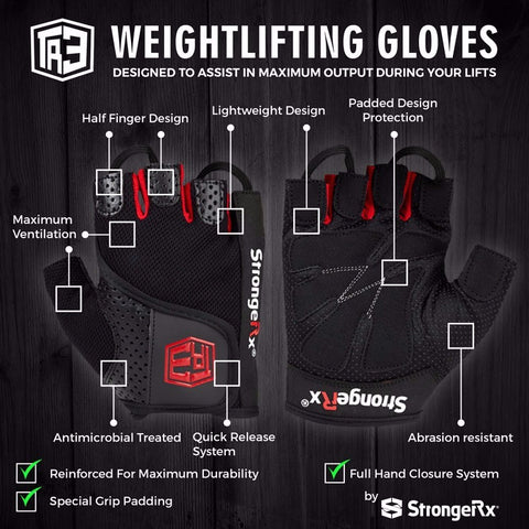 StrongerRx TR3 Weightlifting Gloves / Black - StrongerRX - 2