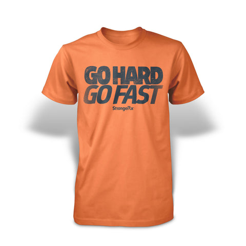 StrongerRX Go Hard Go Fast T-Shirt - Orange - StrongerRX