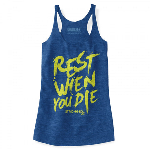 StrongerRX Rest When You Die Tank Top / Blue - StrongerRX