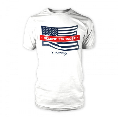 StrongerRX USA Flag T-Shirt / White - StrongerRX