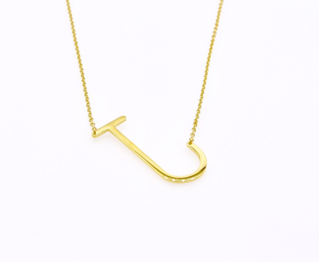 Initial Letter Necklace J - By MAQ