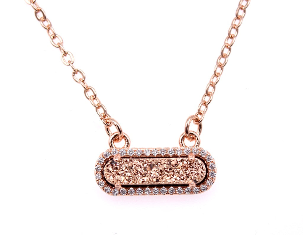 Queen Druzy Necklace Rose Gold - By MAQ