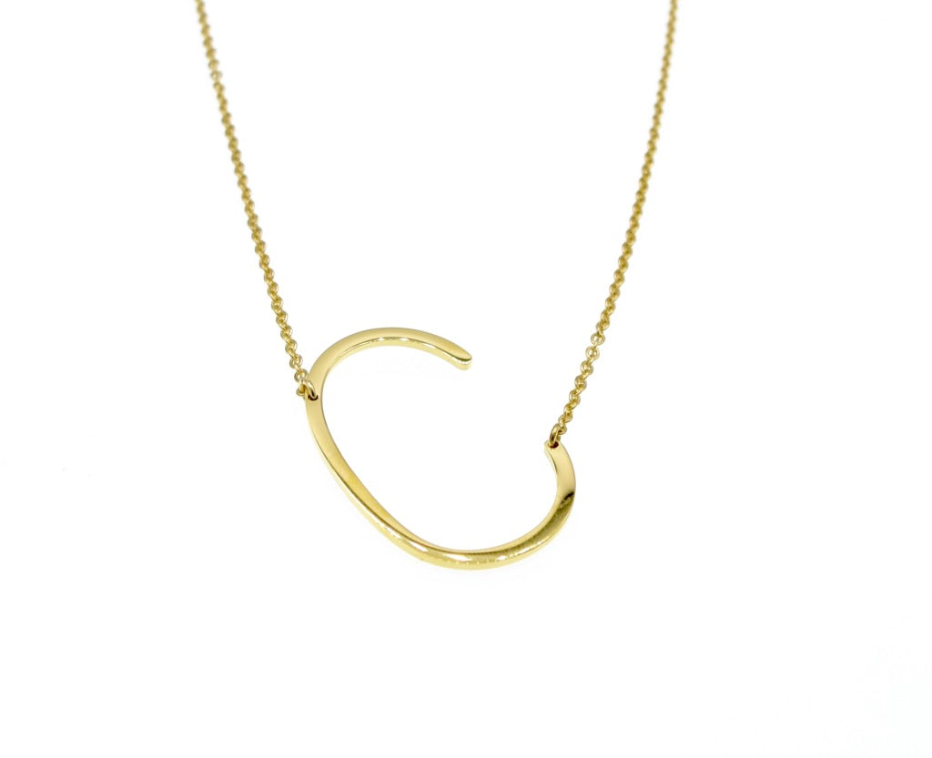 Initial Letter Necklace Gold Plated