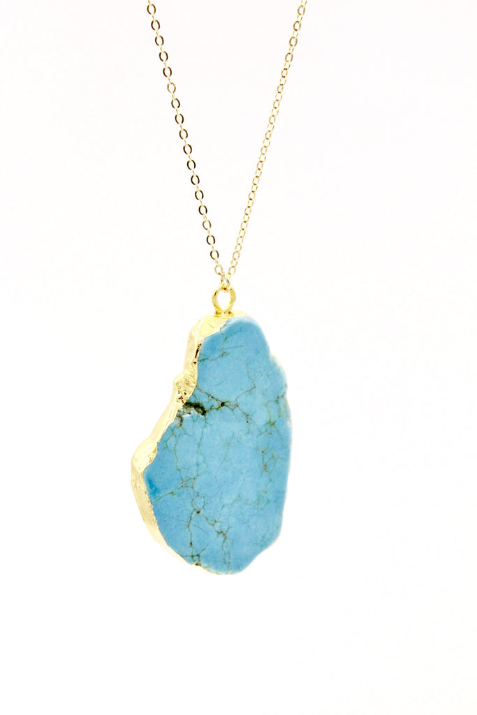 Natural Turquoise Rock Necklace - By MAQ