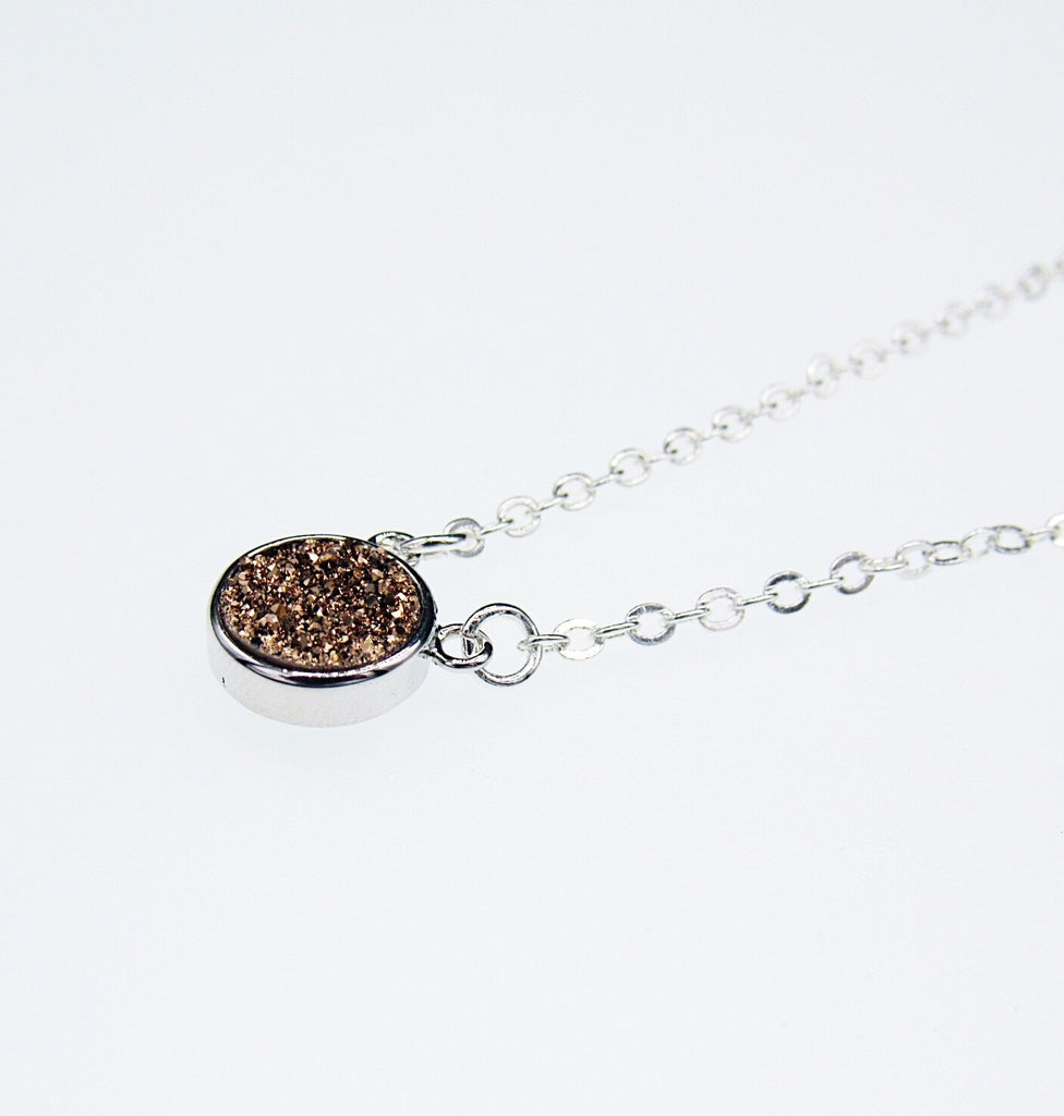 Round Rose Gold Druzy Necklace