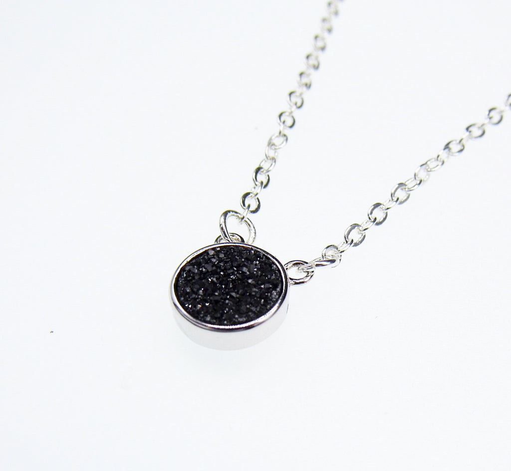 Round Black Druzy Necklace