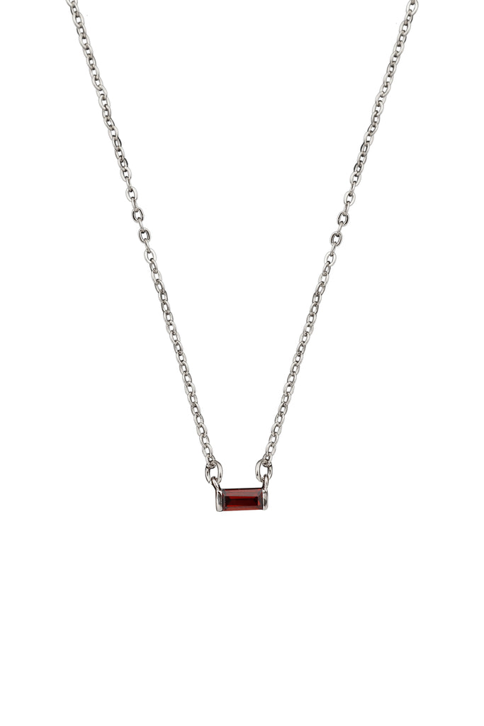 Birthstone Necklace Silver
