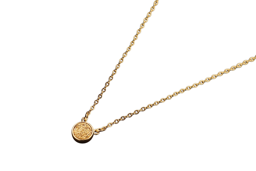 Round Gold Druzy Necklace - By MAQ