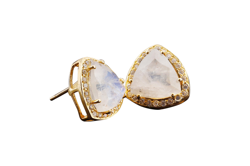 Natural Moonstone Triangle Studs Gold - By MAQ