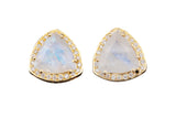 Natural Moonstone Triangle Studs Gold