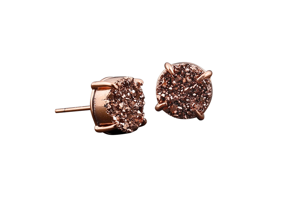 5 Way Druzy Earrings Studs Rose Gold - By MAQ