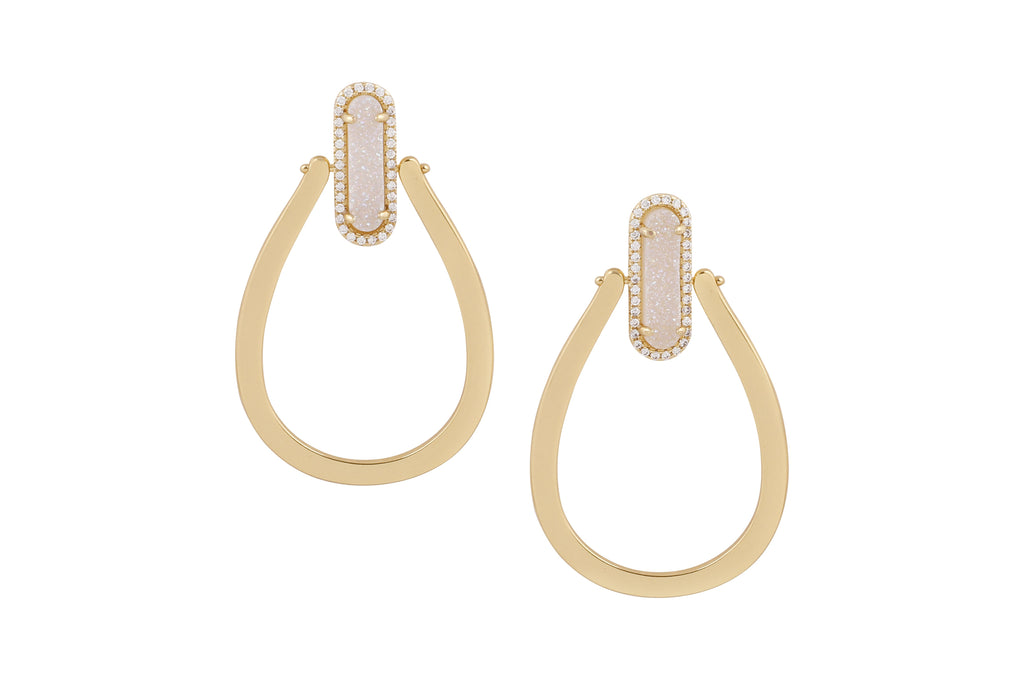 Druzy Queen Hoops Gold