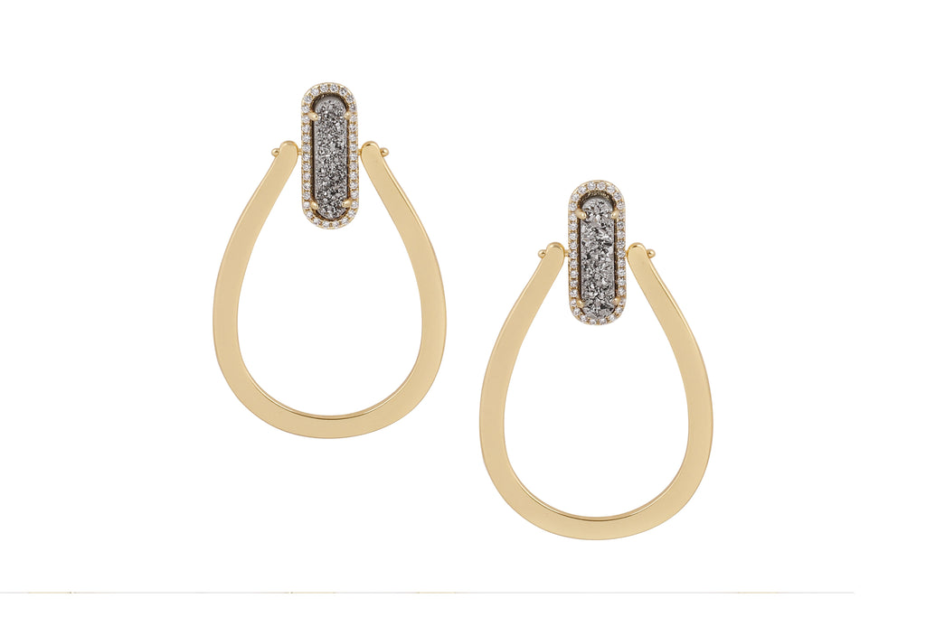 Druzy Queen Hoops Gold - By MAQ