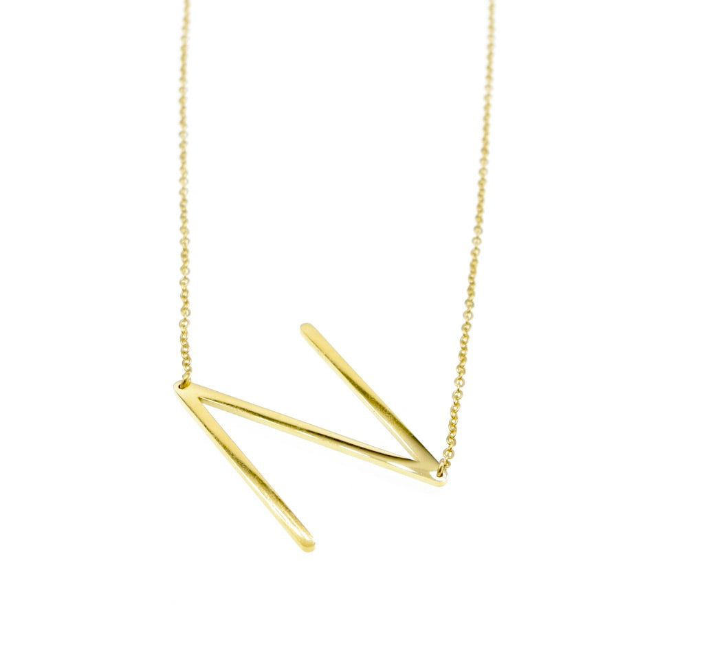 Initial Letter Necklace Gold Plated - By MAQ