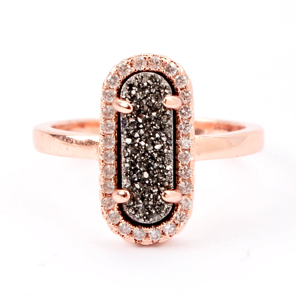 Queen Druzy Ring Rose Gold