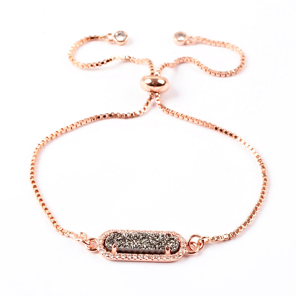 Queen Druzy Adjustable Bracelet Rose Gold