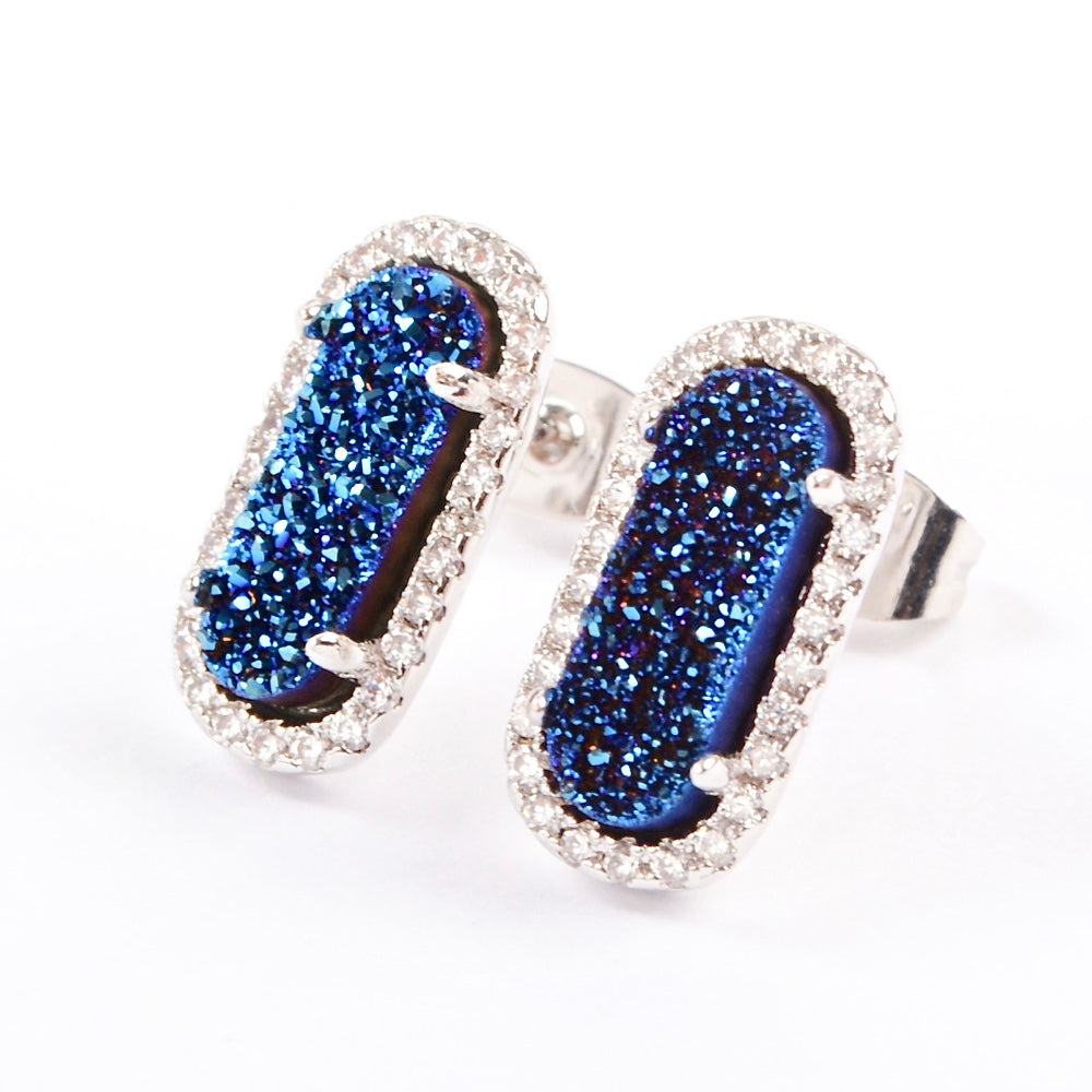 Queen Druzy Studs Earrings Silver - By MAQ