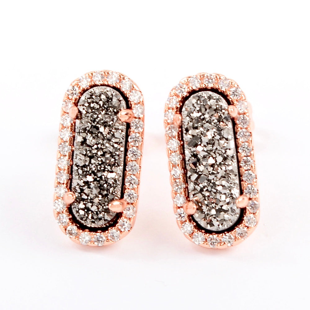 Queen Druzy Studs Rose Gold