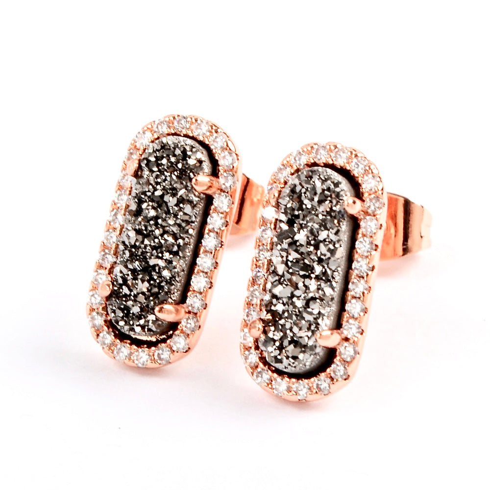 Queen Druzy Studs Rose Gold - By MAQ