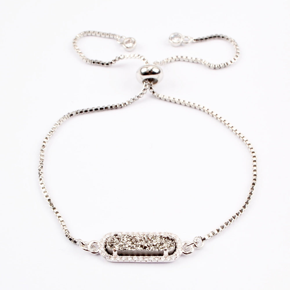Queen Druzy Adjustable Bracelet Silver - By MAQ