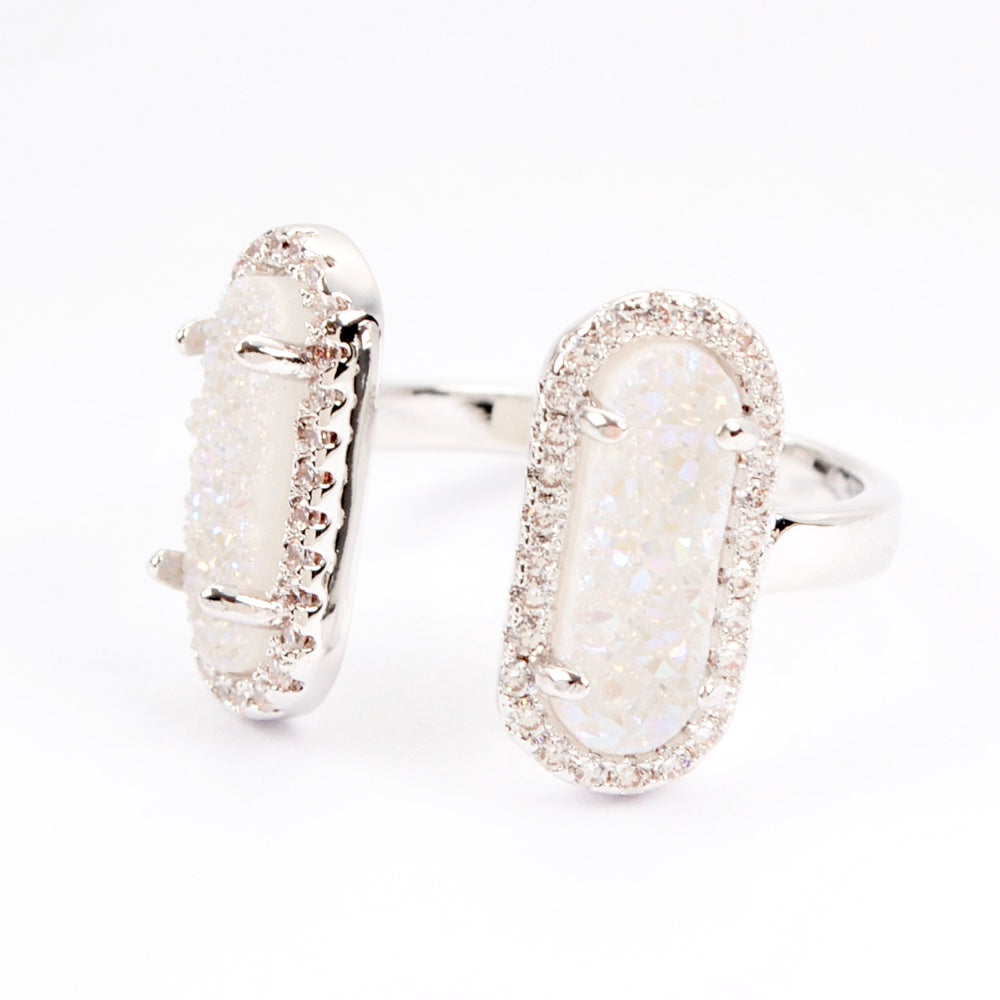 Queen Druzy Double Ring Silver - By MAQ