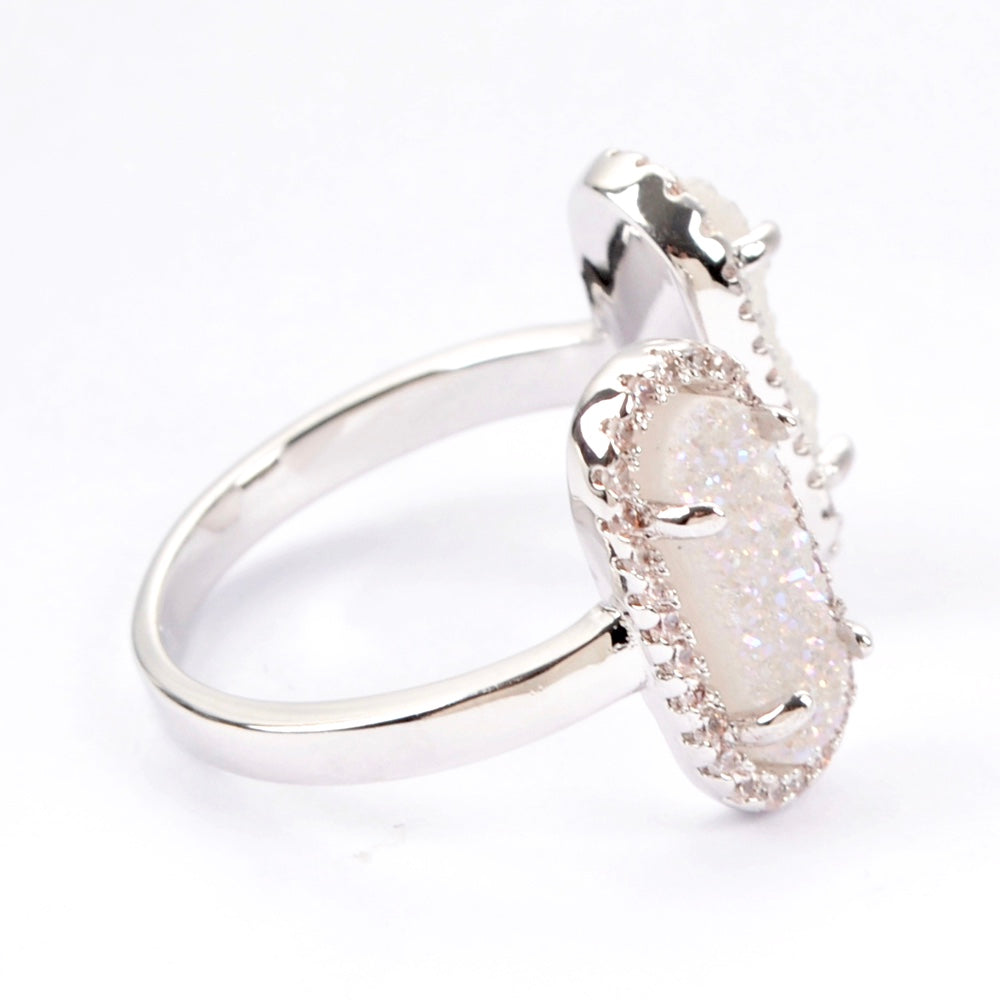 Queen Druzy Double Ring Silver