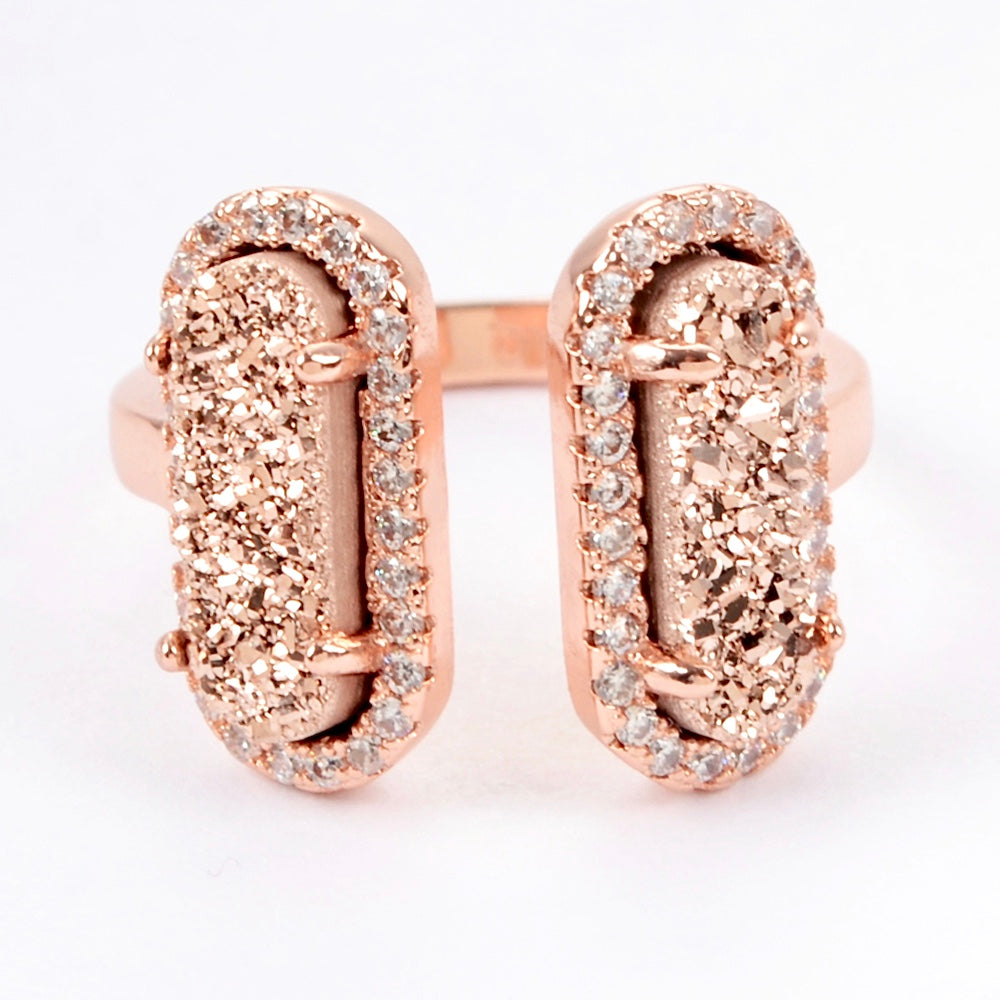 Queen Double Druzy Ring Rose Gold