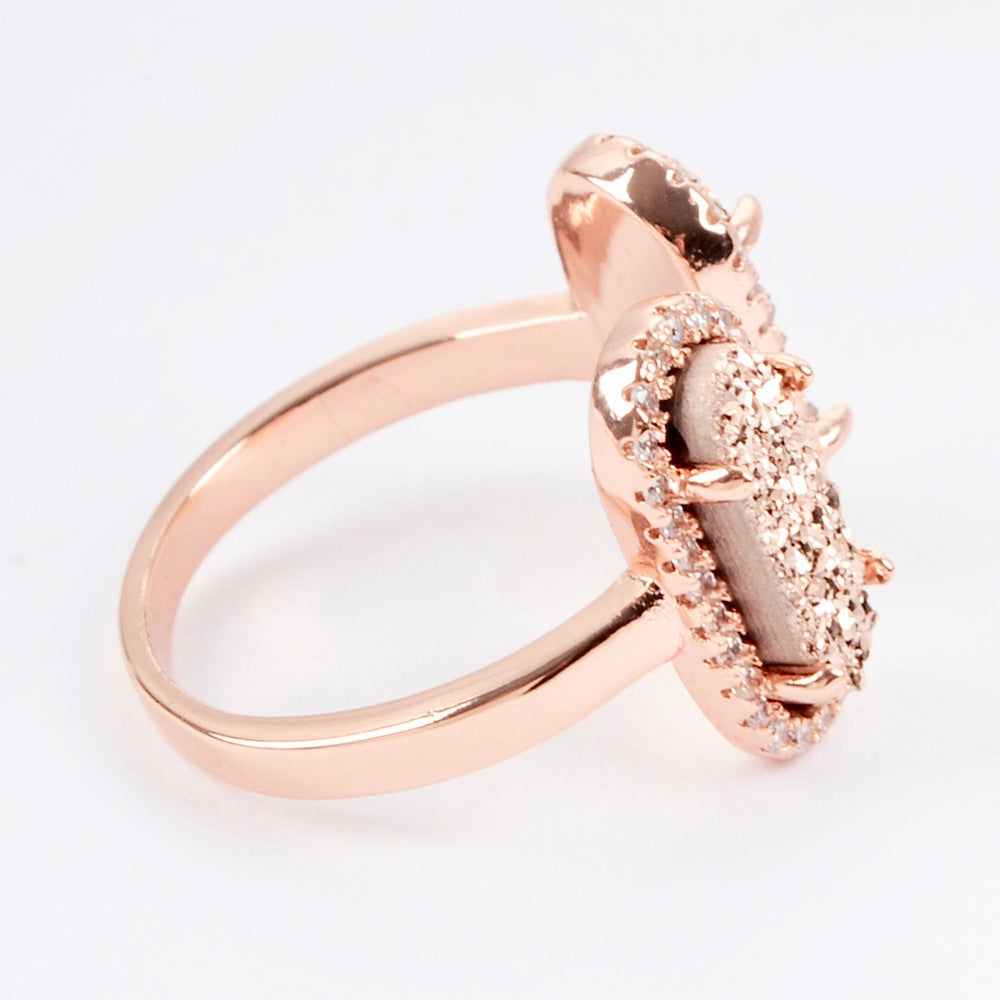 Queen Double Druzy Ring Rose Gold - By MAQ