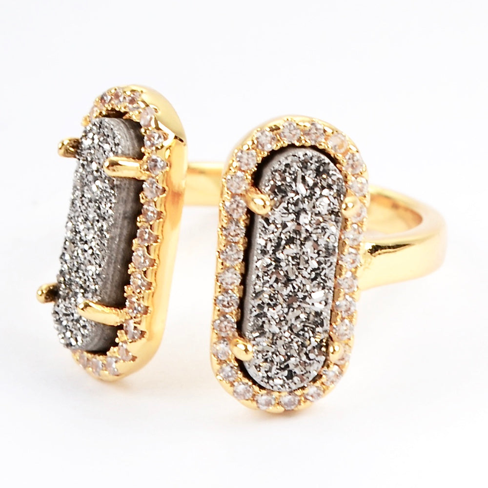 Queen Double Druzy Ring Gold