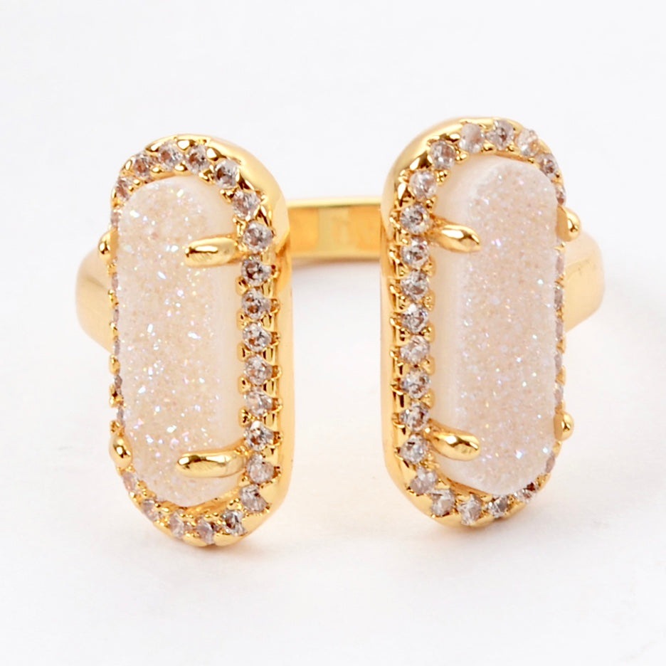 Queen Double Druzy Ring Gold - By MAQ
